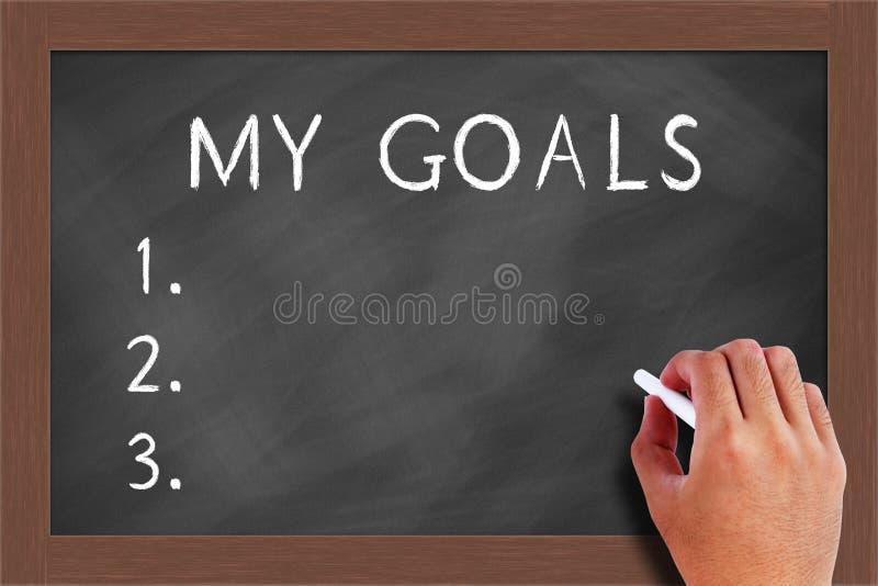 Mes buts mentionnent sur le tableau noir photos libres de droits