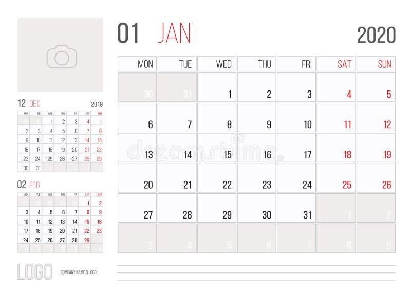 Mes corporativo 2020 de enero del diseño de la plantilla del planificador del calendario ilustración del vector