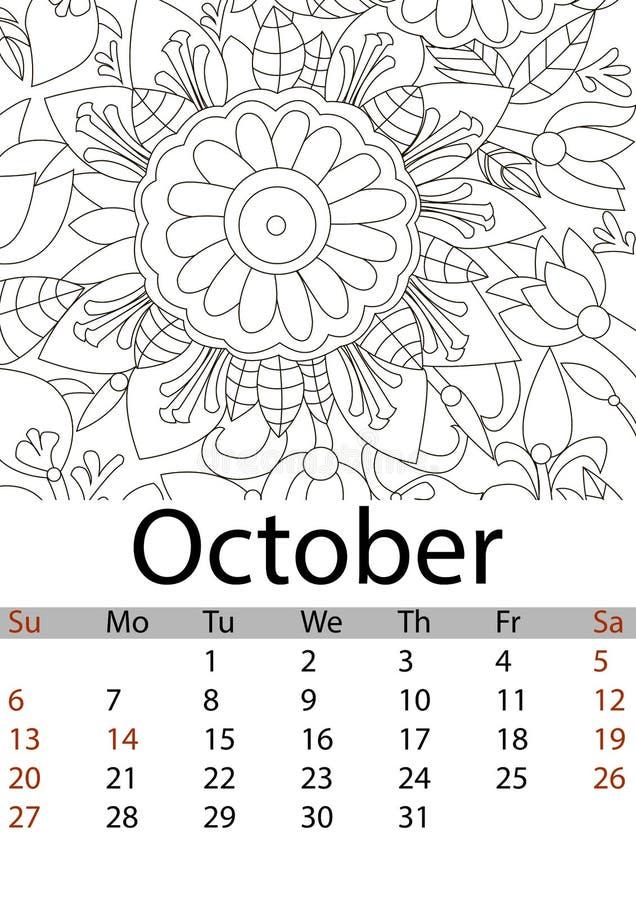 Mes 2019 De Octubre Del Calendario Flor Que Colorea