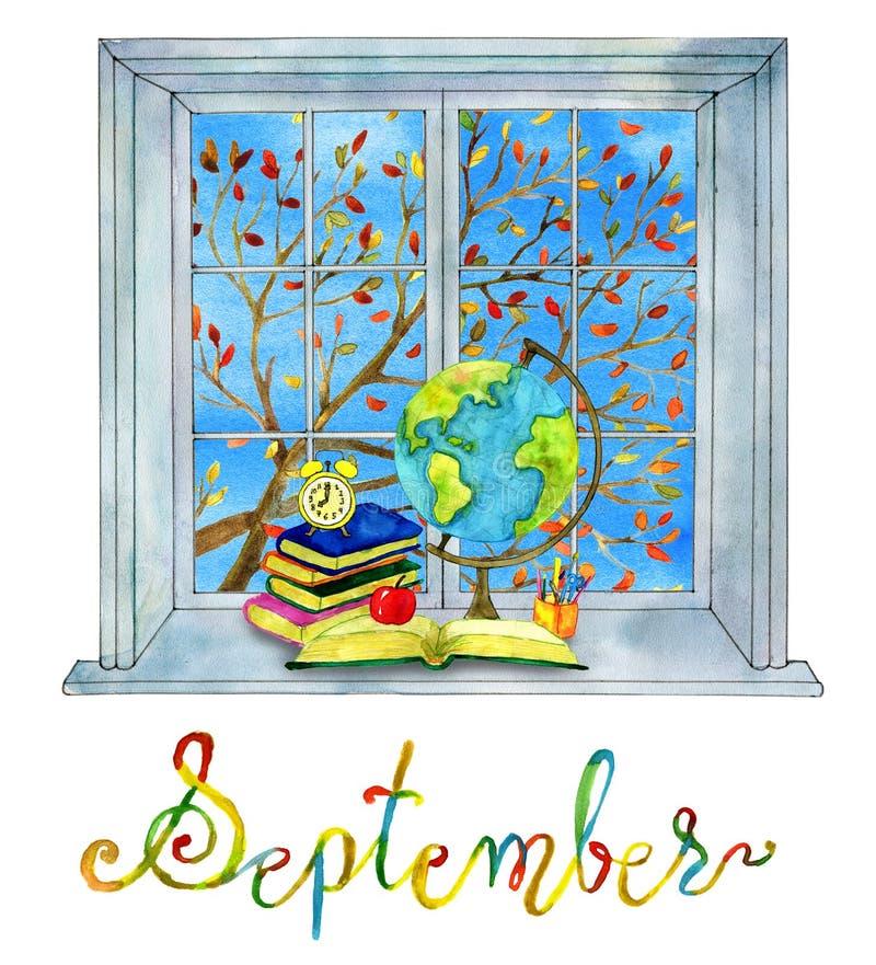 Mes de septiembre Estudie el tema con los libros, el reloj y el mapa global ilustración del vector