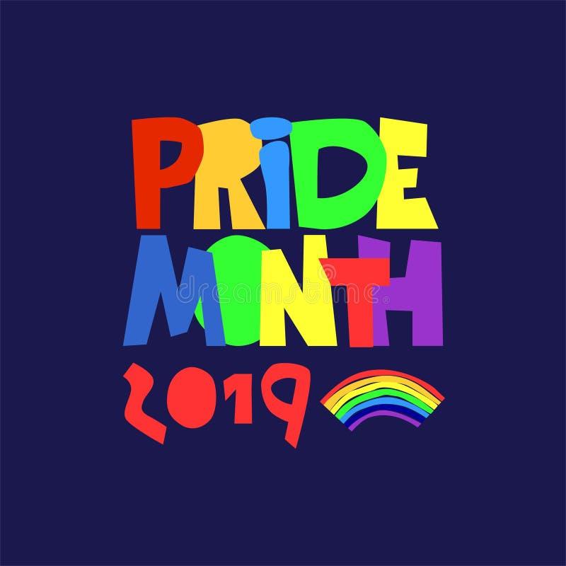 Mes 2019 del orgullo Mes de las celebraciones sexuales de la diversidad Las minorías sexuales apoyan concepto logotipo Arco iris- ilustración del vector