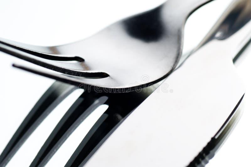 Mes en vork royalty-vrije stock afbeeldingen