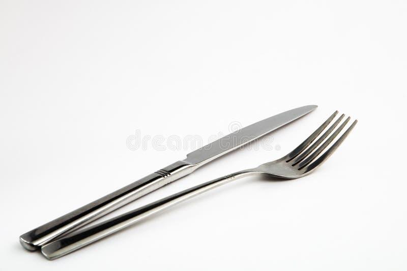 Mes en vork stock foto