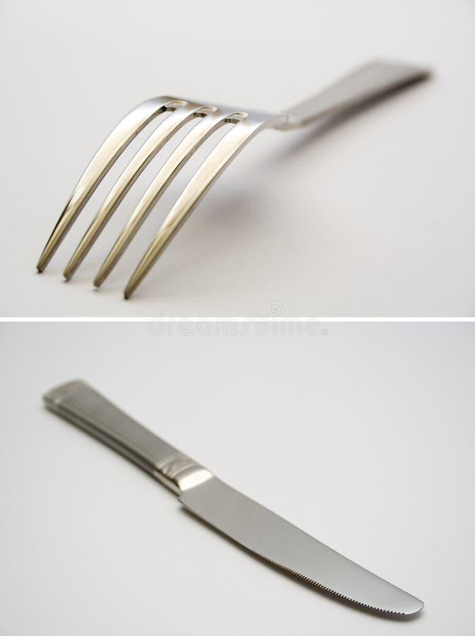 Mes en vork royalty-vrije stock afbeelding