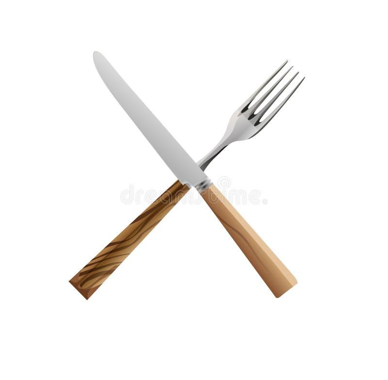 Mes en vork royalty-vrije illustratie