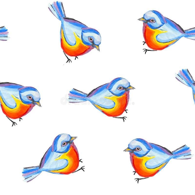 Mes för fågel för sömlös repetitionornitologimodell abstrakt med det blå huvudet och baksida, orange bröstkorg i vit bakgrund vektor illustrationer