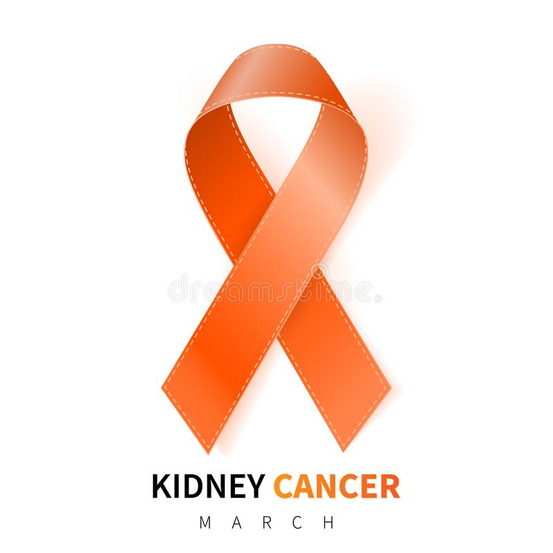 Mes nacional de la conciencia del cáncer del riñón Símbolo anaranjado realista de la cinta Diseño médico Ilustración del vector libre illustration