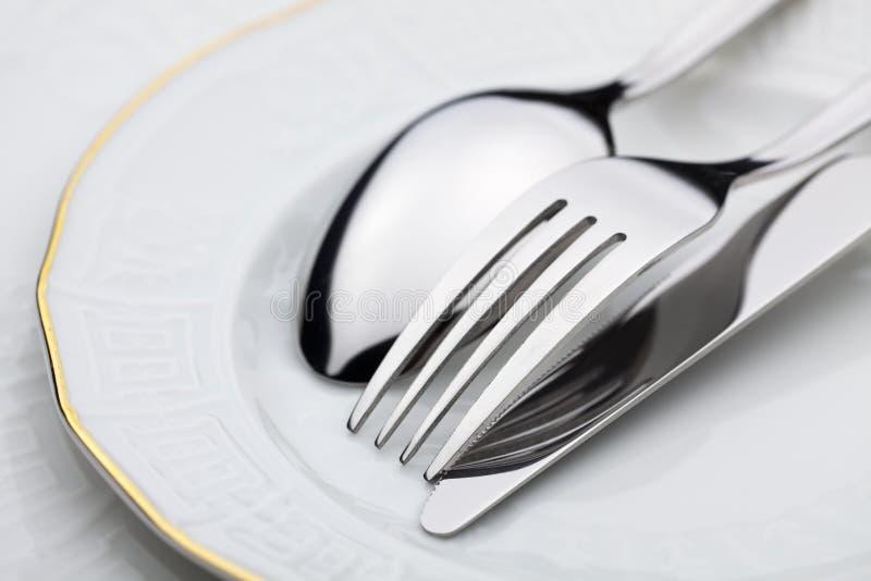 Mes, vork en lepel royalty-vrije stock afbeelding
