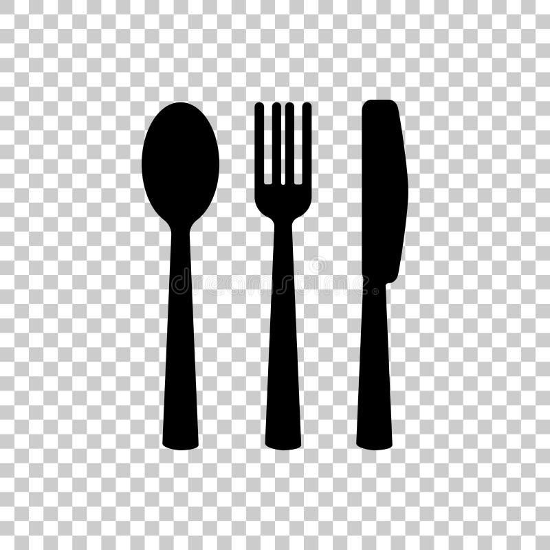Mes, vork, lepel bestek Dien het plaatsen in Het pictogram van toestellen vector illustratie