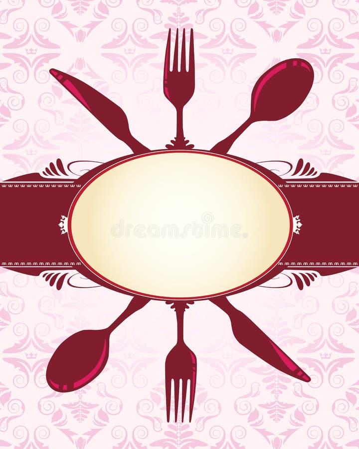 Mes, vork, lepel en banner stock illustratie