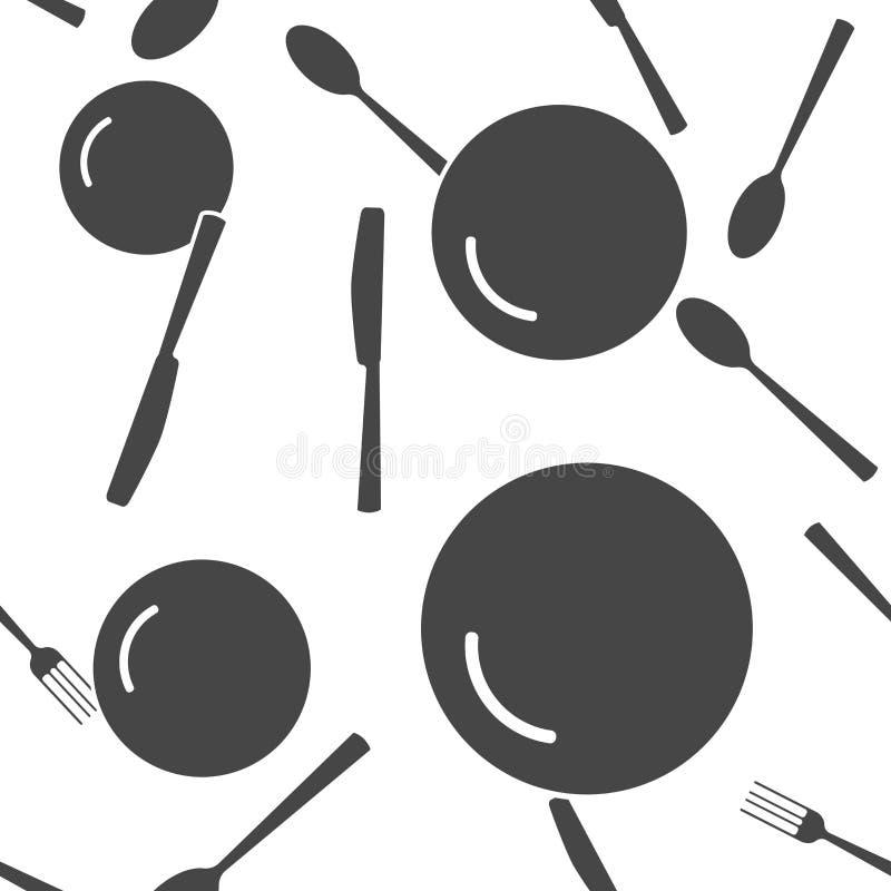 Mes, vork, lepel en plaat bestek Lijst die naadloos patroon op een witte achtergrond plaatst royalty-vrije illustratie