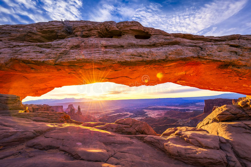 Mesa Arch ad alba fotografia stock