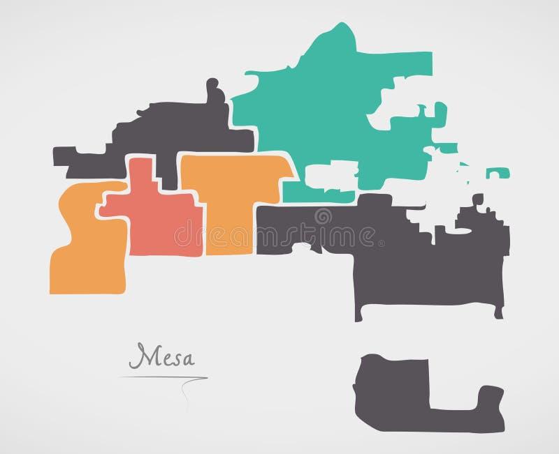 Mesa Arizona Map with neighborhoods and modern round shapes. Illustration vector illustration
