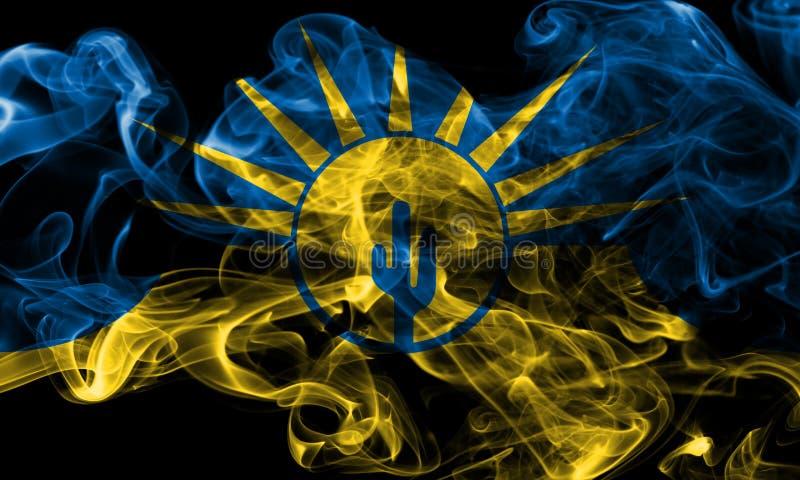 Mesa city smoke flag, Arizona State, United States Of America.  stock photo