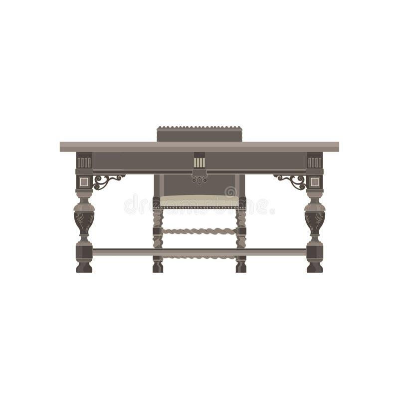 Mesa com o plano monocromático da opinião dianteira da cadeira no tema cinzento da cor ilustração royalty free
