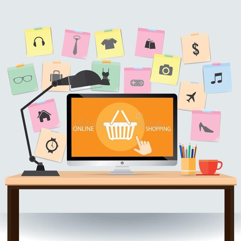 Mesa con el papel de nota y los iconos en línea de las compras de la cesta ilustración del vector