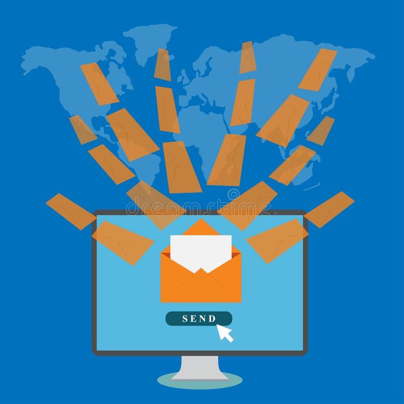 Mesa con los sobres en fondo del mapa del mundo stock de ilustración