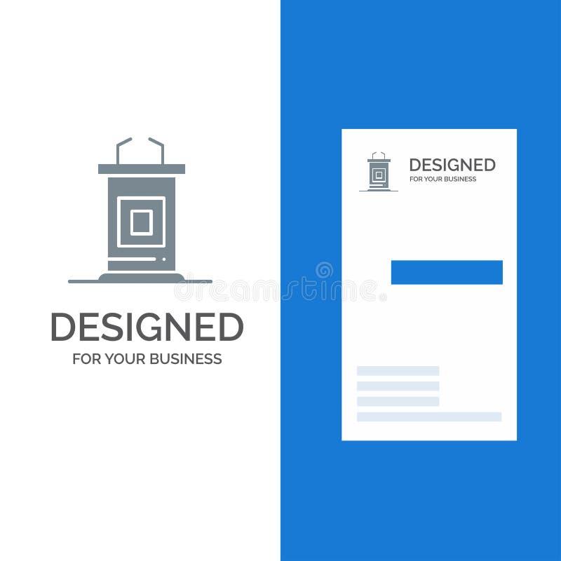 Mesa, conferência, reunião, professor Grey Logo Design e molde do cartão ilustração stock