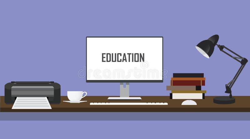 Mesa da educação com os livros e a lâmpada do computador do PC do monitor da impressora ilustração stock
