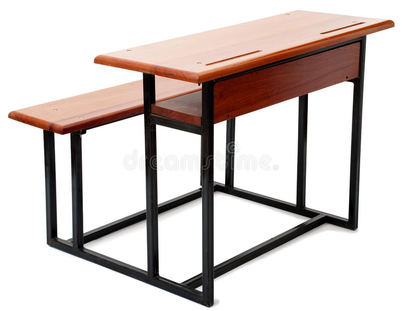 Mesa da escola da madeira e do metal foto de stock