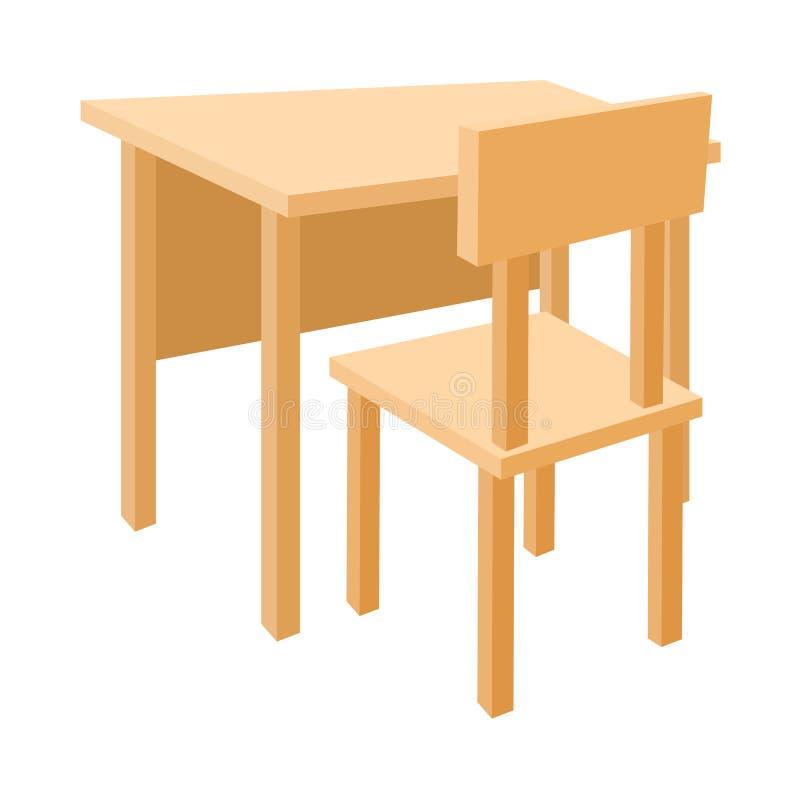 Mesa da escola e ícone de madeira da cadeira, estilo dos desenhos animados ilustração royalty free