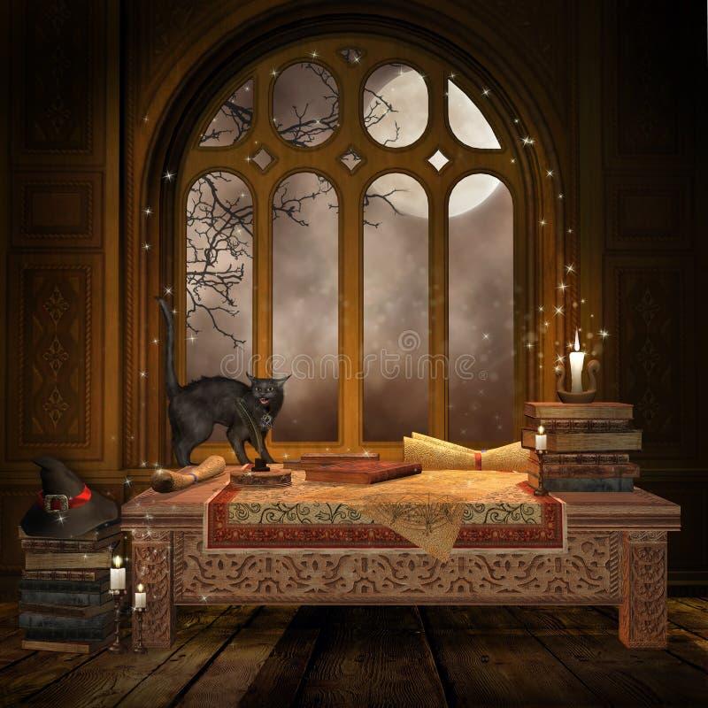 Mesa da fantasia com livros e rolos