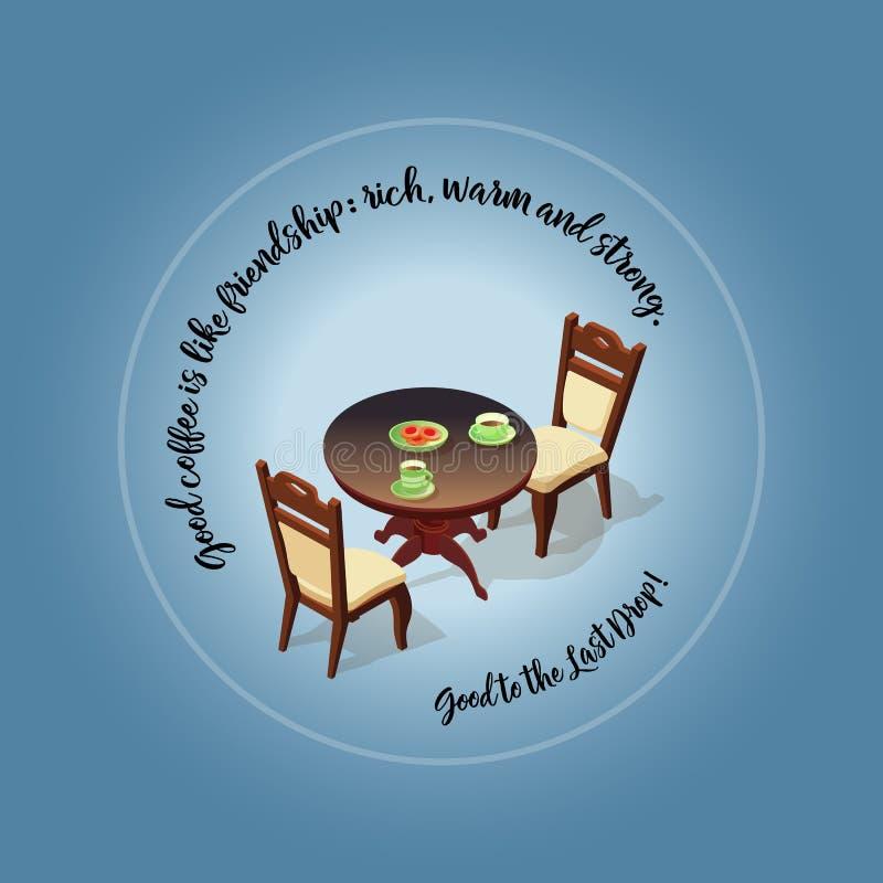 Mesa de centro com copos e ícone isométrico das cadeiras ilustração royalty free