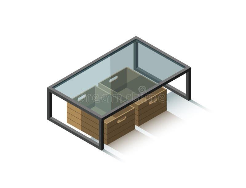Mesa de centro de cristal isométrica del vector con la caja de las revistas imagen de archivo