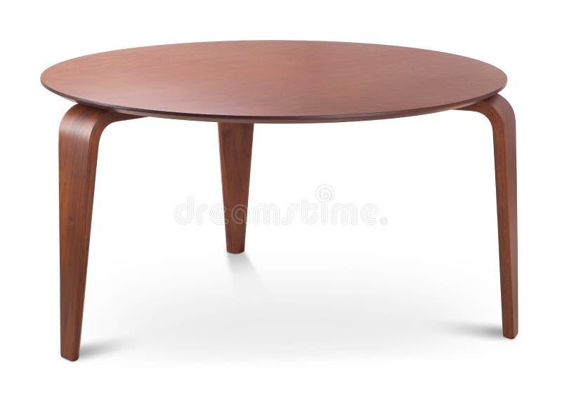 Mesa de centro redonda de madeira de Brown, tabela dinning, tabela dos compartimentos Desenhista moderno, tabela isolada no fundo foto de stock