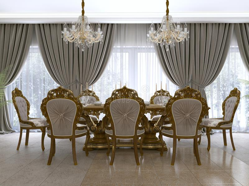 Mesa de comedor clásica moderna en una sala de estar barroca lujosa con la porción libre illustration