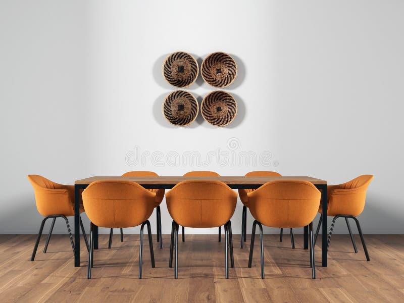 Mesa de comedor en el interior representaci?n 3d fotos de archivo