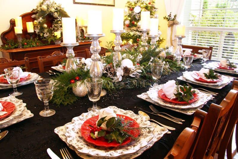 Mesa de comedor de la Navidad fotografía de archivo