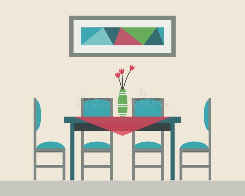Mesa de comedor para la fecha ilustración del vector