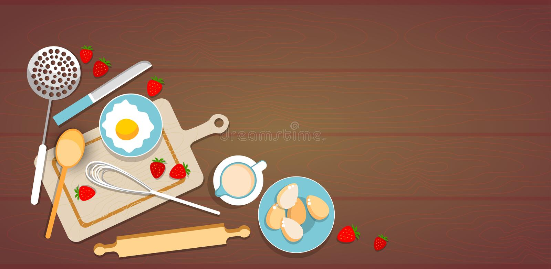 Mesa de cozinha do copo de Process Eggs Strawberry do cozinheiro dos utensílios de cozimento ilustração royalty free