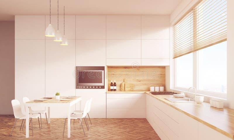 Mesa de cozinha ensolarado e aparelho de televisão ilustração stock