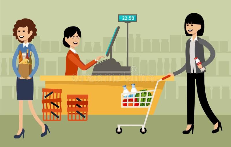 Mesa de dinheiro em um supermercado e povos com compras ilustração do vetor