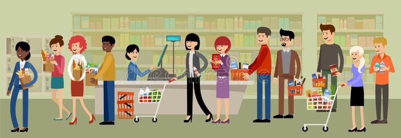 Mesa de dinheiro em um supermercado e povos com compras ilustração royalty free