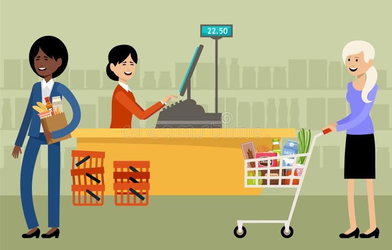 Mesa de dinheiro em um supermercado e povos com compras ilustração stock