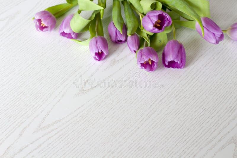 A mesa de escritório da mulher com flor da mola floresce, tulipas no fundo branco fotografia de stock royalty free