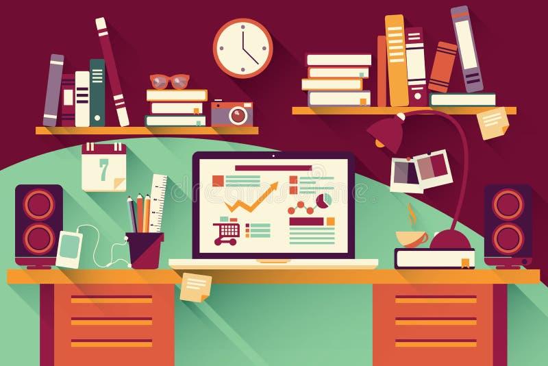 Mesa de escritório domiciliário - projeto liso, sombra longa, mesa do trabalho, computador