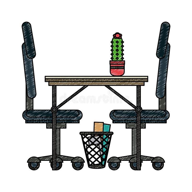 Mesa de escritório e garrancho das cadeiras ilustração royalty free