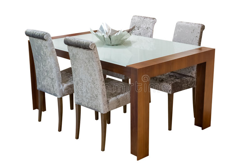 Mesa de jantar de madeira e cadeiras isoladas no fundo branco imagem de stock royalty free
