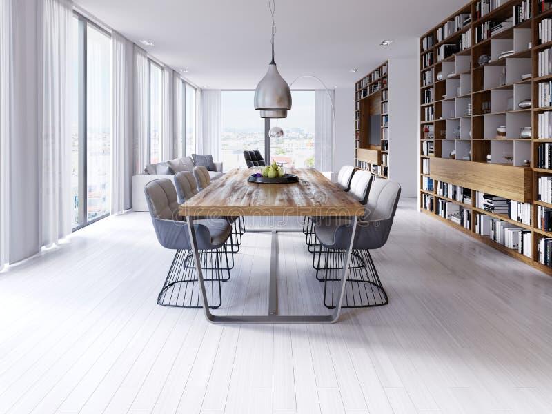 Mesa de jantar do desenhista no apartamento com as grandes lâmpadas de suspensão, tabletop do sótão-estilo da folhosa, cadeiras c ilustração royalty free