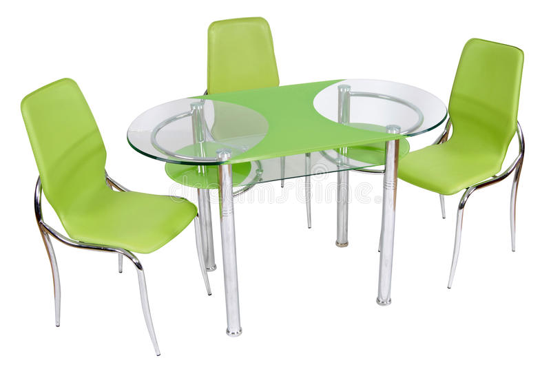 Mesa de jantar e cadeiras de vidro fotografia de stock royalty free