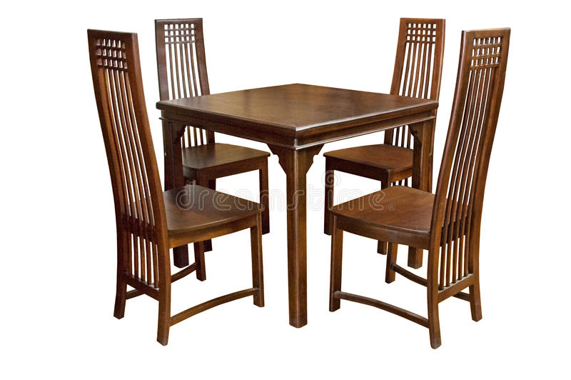 Mesa de jantar e cadeiras isoladas fotografia de stock royalty free