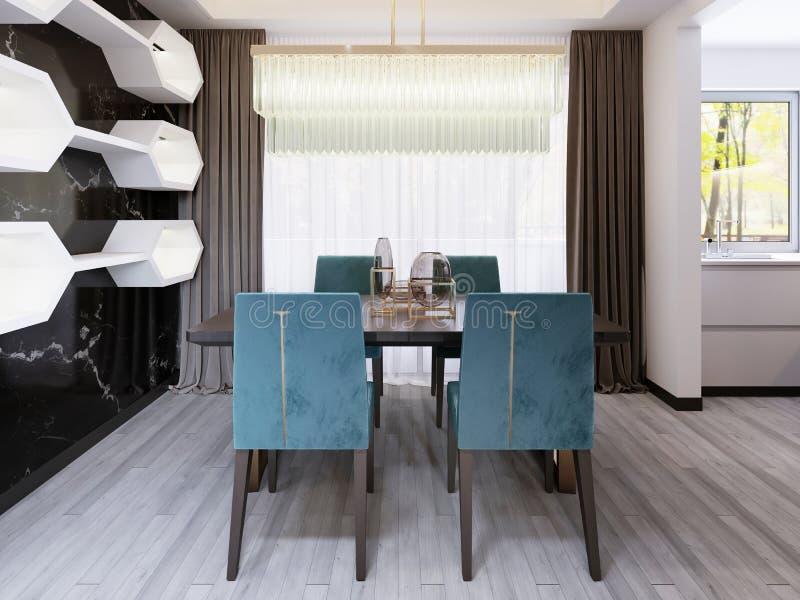 Mesa de jantar luxuosa com cadeiras do velor e uma tabela maciça nos pés de bronze com um candelabro de vidro ilustração stock