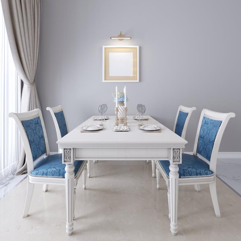 Mesa de jantar luxuoso com mobília branca e estofamento azul nas cadeiras ilustração royalty free
