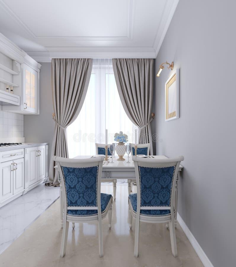Mesa de jantar luxuoso com mobília branca e estofamento azul nas cadeiras ilustração do vetor