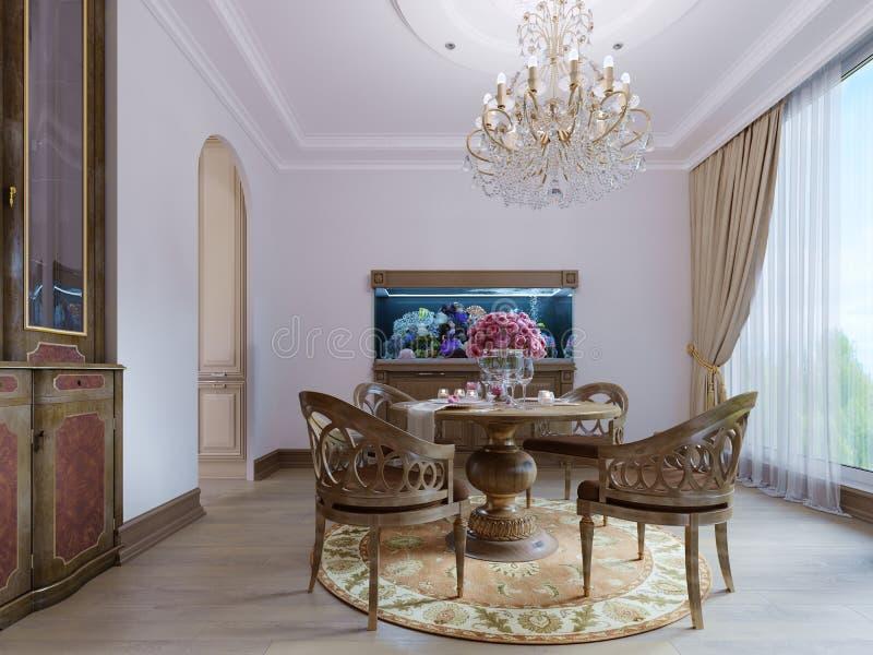Mesa de jantar de madeira luxuoso e quatro cadeiras na sala de jantar com aparador e aquário Madeira cinzelada ilustração stock