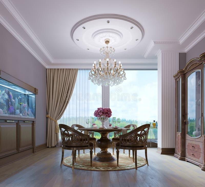 Mesa de jantar de madeira luxuoso e quatro cadeiras na sala de jantar com aparador e aquário Madeira cinzelada ilustração royalty free